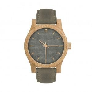Dámské šedé dřevěné hodinky s koženým řemínkem