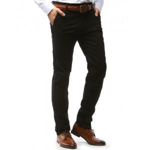 Pánské černé kalhoty elegantní v chino střihu