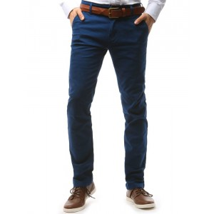Moderní chino pánské kalhoty tmavě modré barvy s předními kapsami