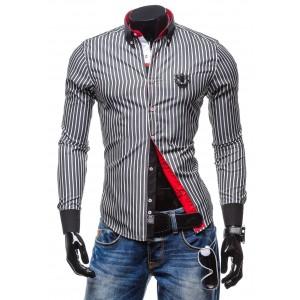 Pánské proužkované košile černé barvy s dlohým rukávem