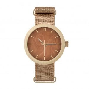 Dámská dřevěná hodinka v hnědé barvě s textilním řemínkem
