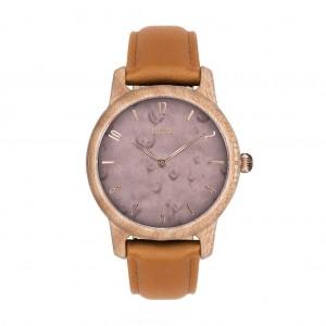 Dřevěné hodinky pro dámy ve fialové barvě s koženým řemínkem