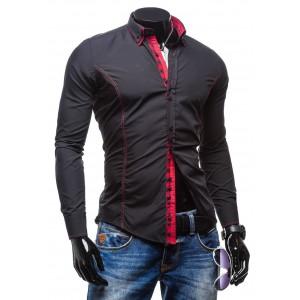Černé pánské košile se skrytým zapínáním