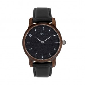 Dřevěné hodinky pro dámy v černé barvě s koženým řemínkem