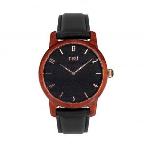 Dámské hodinky dřevěné v černé barvě a koženým řemínkem