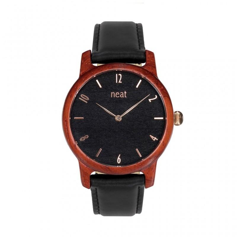 Dámské hodinky dřevěné v černé barvě a koženým řemínkem a74d1331c43