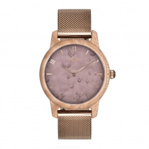 Dámské fialové dřevěné hodinky na ruku