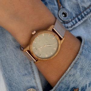 Dámské dřevěné hodinky v šedé barvě s kovovým řemínkem