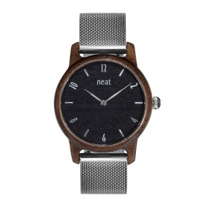 Dámské náramkové dřevěné hodinky v černo stříbrné barvě
