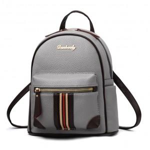 Šedý moderní batoh s originálním přední kapsou