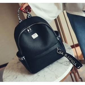 Designový černý dámský batoh s nápisy