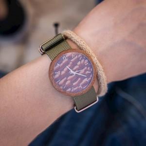 Dřevěné pánské hodinky s oranžovým ciferníkem a zeleným řemínkem