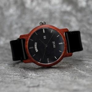 Pánské dřevěné černé náramkové hodinky s kovovými číslicemi