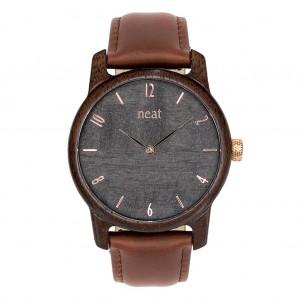 Elegantní pánské hnědé dřevěné hodinky se šedým ciferníkem