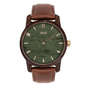 Dřevěné pánské hnědé hodinky se zeleným ciferníkem