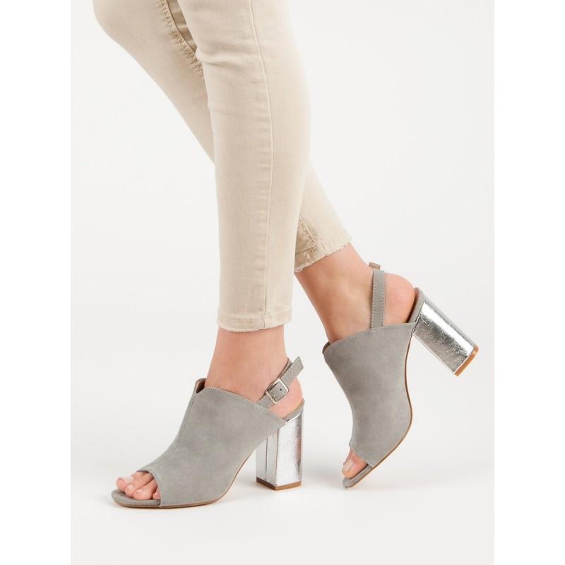 Stylové sandály v šedé barvě s ozdobným stříbrným módním podpatkem 7a3d73c41e