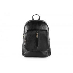Černý koženkový dámský batoh