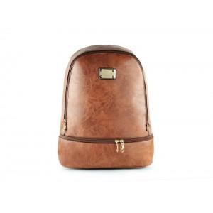 Hnědý dámský batoh s kapsou ve spodní části