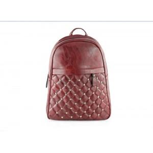 Prošívaný dámský batoh v bordó barvě