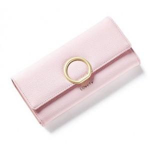 Světle růžová dámská velká peněženka se zlatou sponou