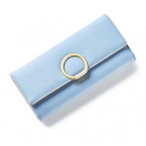 Světlemodrá dámská peněženka se zlatou kruhovou sponou