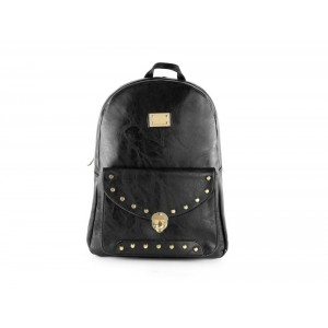 Černý dámský batoh s přední kapsou se zapínáním na přezku
