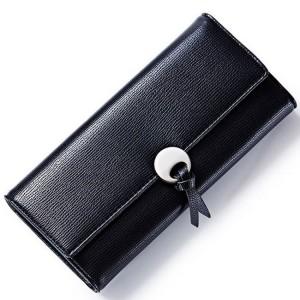 Velká černá dámská peněženka s přezkou