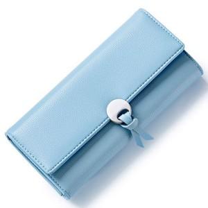Elegantní dámská modrá peněženka s kovovou přezkou