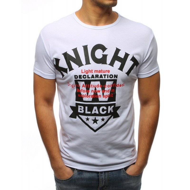 0cc0926e15c7 Bílé pánské tričko s kulatým výstřihem a s trendy nápisem