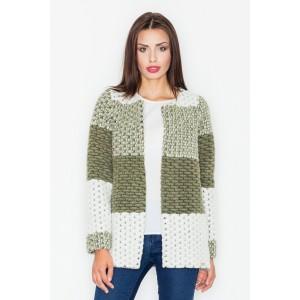Krátký dámský pletený kabátek olivově zelené barvy