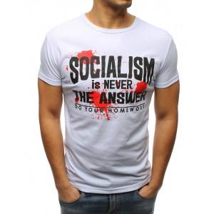 Bílé pánské tričko s originálním nápisem