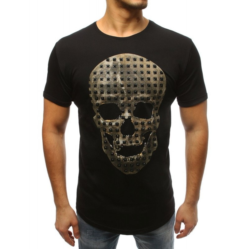 Černé pánské tričko s krátkým rukávem s motivem lebky bf9fbabfef