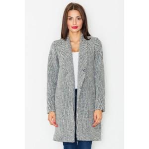 Šedý dlouhý kabát dámský bez zapínání