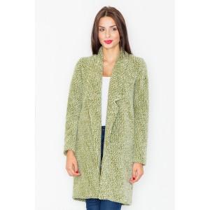 Klasický dámský dlouhý kabát olivově zelené barvy s dlouhým límcem