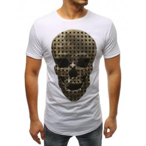 Originální pánské bílé tričko s motivem zlaté lebky s druky