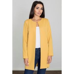 Dámský jarní žlutý kabát bez límce