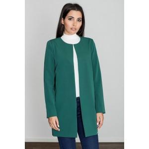 Zelený polodlouhý jarní kabát bez zapínání