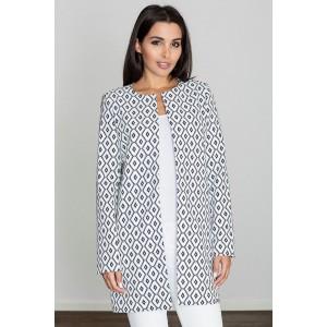 Vzorovaný dámský kabát s rovným střihem