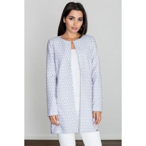 Bílo modrý dámský kabát s moderním vzorem bez zapínání