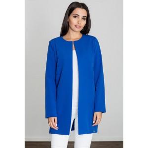 Moderní dámský kabát bez límce v modré barvě