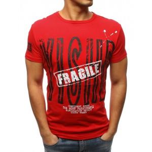 Pánské červené tričko s krátkým rukávem se stylovým nápisem