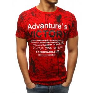 Originální pánské tričko červené barvy se stříkanou potlačí a nápisem