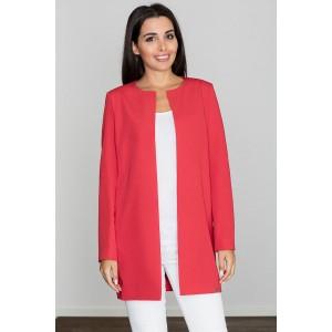 Dámský červený elegantní kabát na jaro