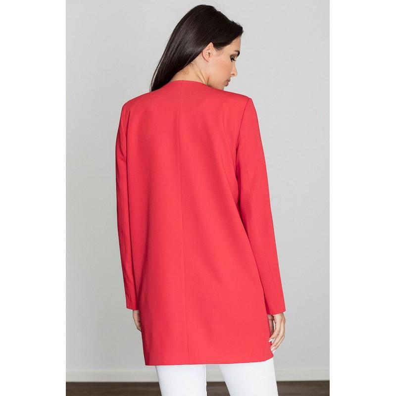 Dámský červený elegantní kabát na jaro 0f4b4db8ee