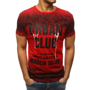 Červené pánské tričko s krátkým rukávem a originálním designem