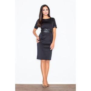 Dámské černé šaty krátké s elegantními dekorativními prvky