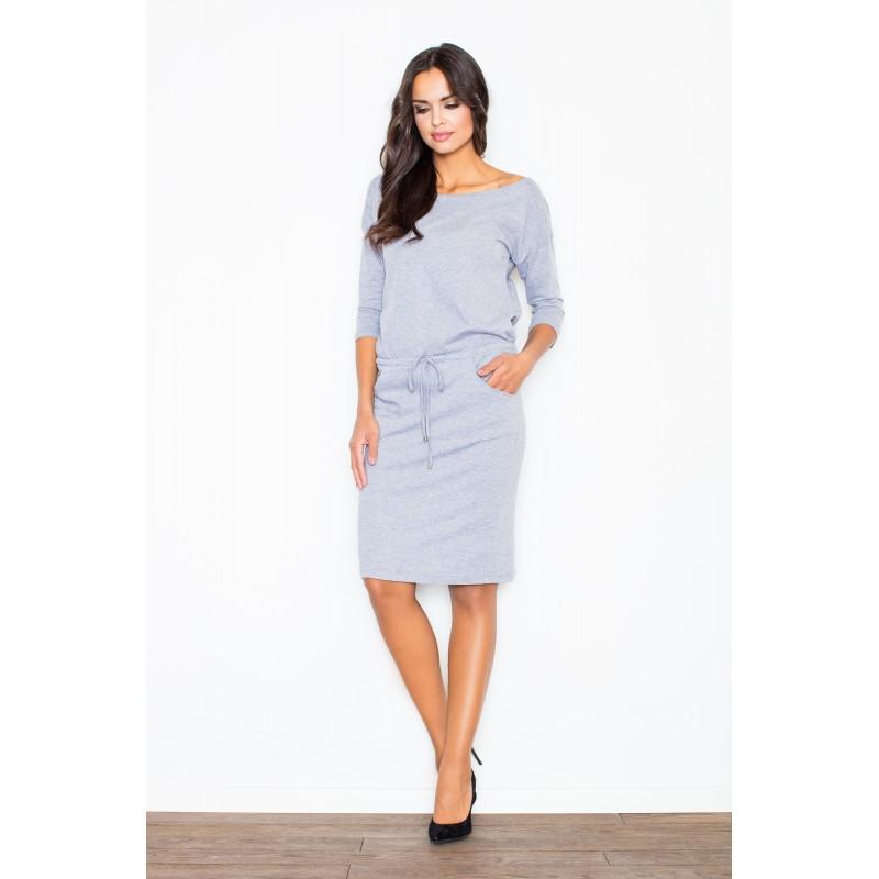 4d79e828e Bavlněné šedé šaty dámské s vázáním v pase