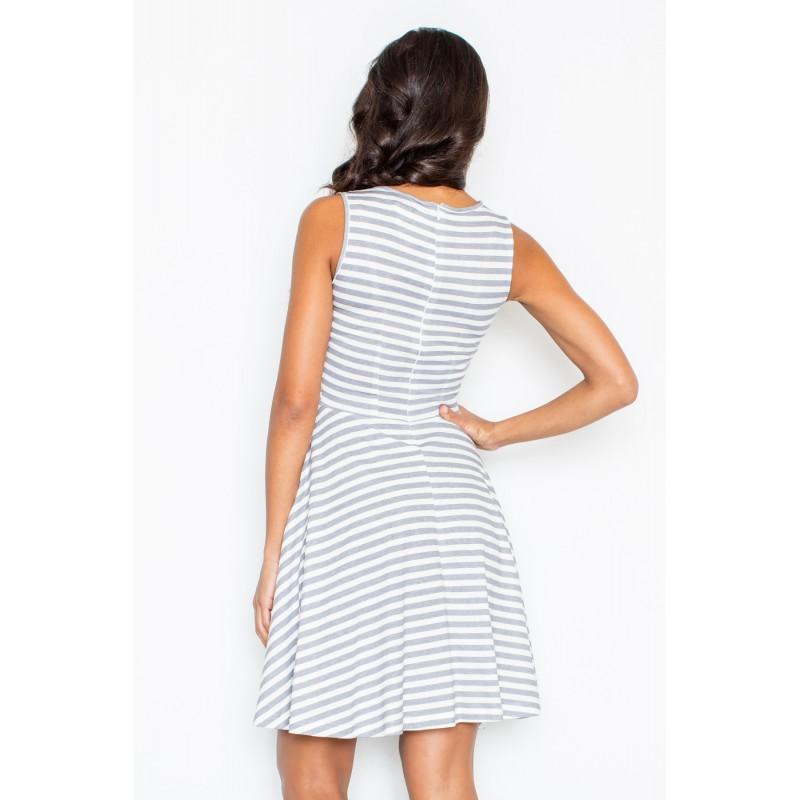 f24cad683a63 Bílo šedé dámské pruhované šaty na léto