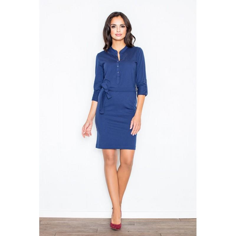 54 5000 Tmavě modré dámské bavlněné šaty s knoflíky ve výstřihu 5c034f87de