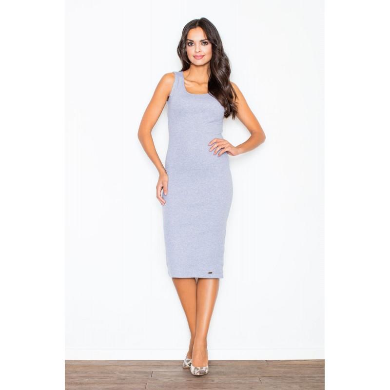 Šedé dámské bavlněné šaty bez rukávů s délkou pod kolena 2515c1353aa